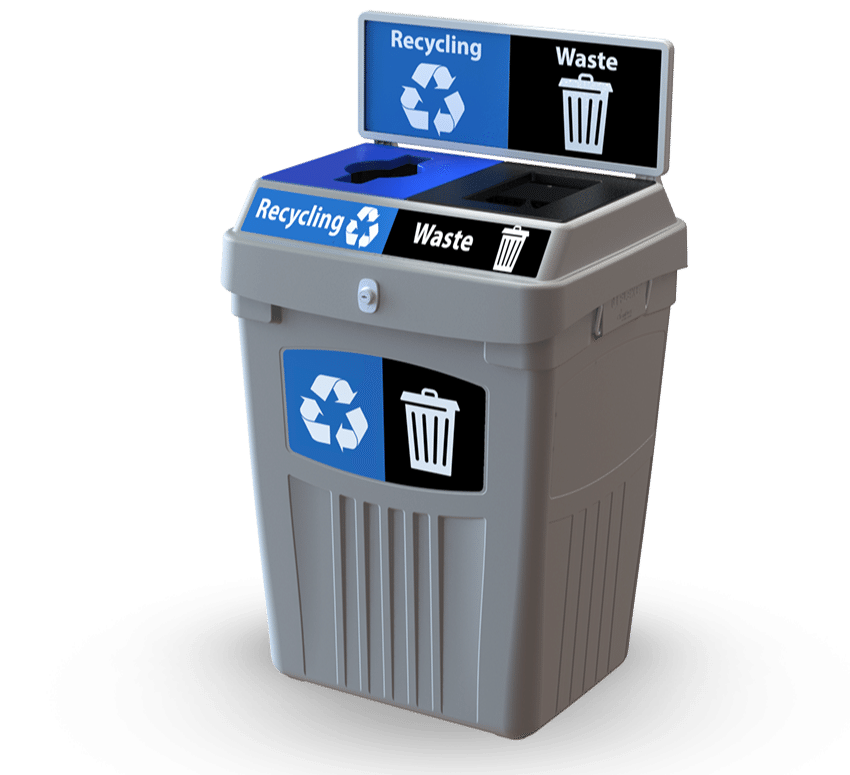 The all new FLEX E™ Bin 1–3 stream recycling container