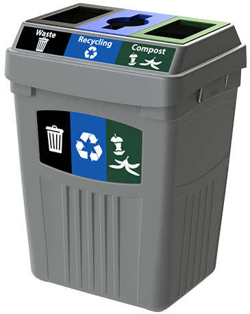 CleanRiver Transition® bin with three streams for waste, recycling and compost
